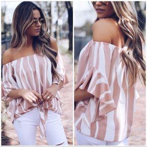 GINA Pink white strap off shoulder chiffon top!